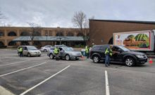 cars lined up for meal distribution